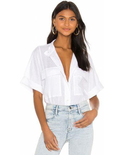 Bielizna niebieski z rękawami koszula jeansowa z kieszeniami Frame