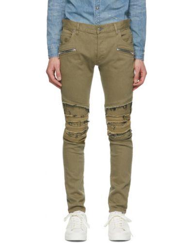Черные джинсы стрейч с вышивкой Balmain
