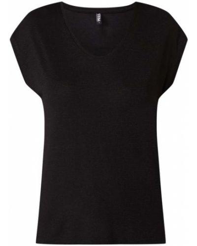 Czarna bluzka z wiskozy z dekoltem w serek Pieces