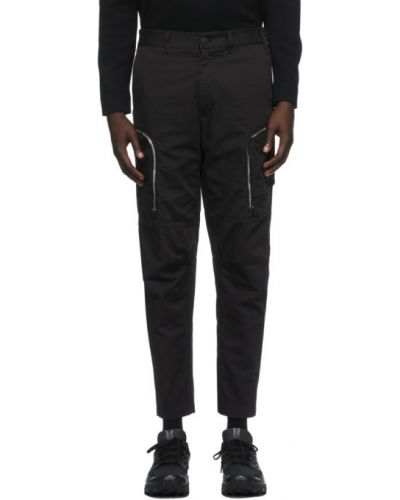 Czarne spodnie bawełniane z haftem Stone Island Shadow Project