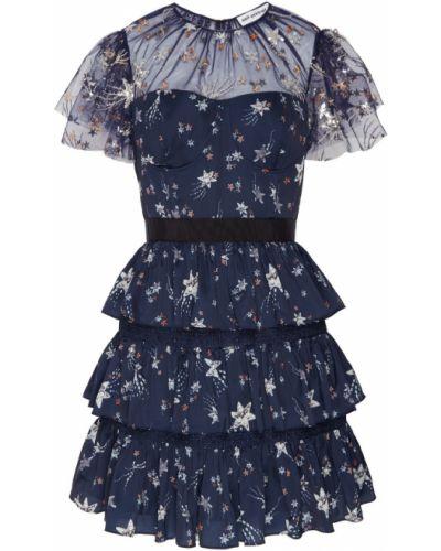 Платье мини с вышивкой приталенное Self-portrait