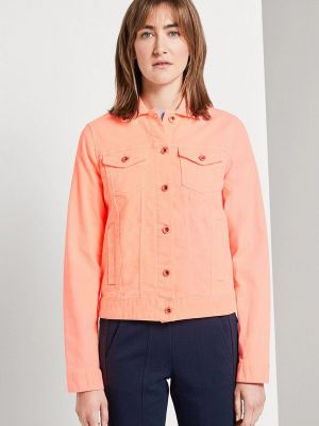 Джинсовая куртка весенняя коралловый Tom Tailor