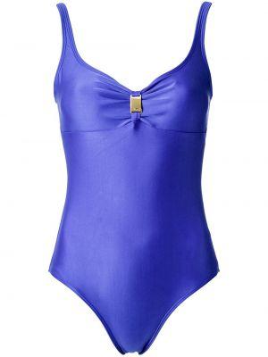 Синий слитный купальник с V-образным вырезом Lygia & Nanny