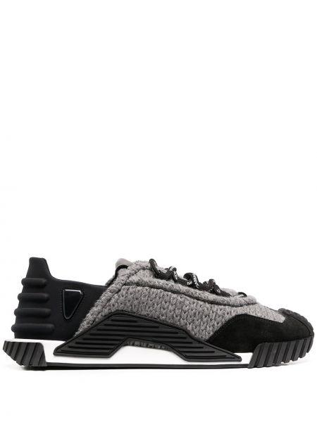 Шерстяной черный ажурный топ на шнуровке Dolce & Gabbana