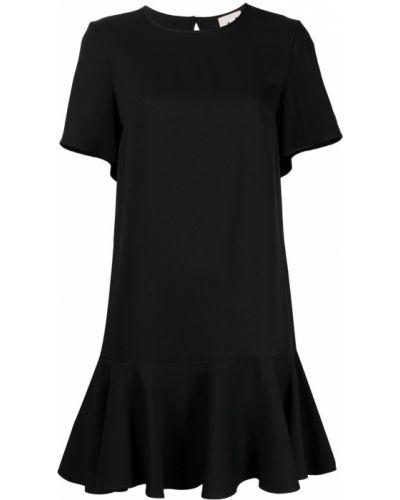 Черное платье мини трапеция с короткими рукавами Lautre Chose