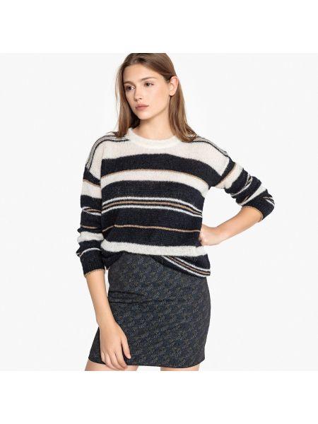 Бежевый пуловер из мохера круглый с круглым вырезом Sud Express