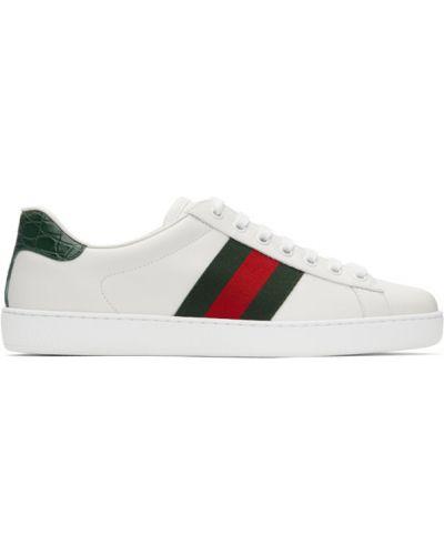 Czarne sneakersy skorzane sznurowane Gucci