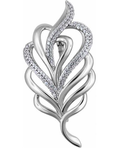 Серебряная брошь с камнями с перьями эстет