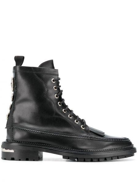 Кожаные черные ботинки с бахромой Toga Virilis