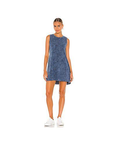 Хлопковое синее платье с декоративной отделкой Michael Lauren