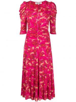 Czerwona sukienka midi z printem Dvf Diane Von Furstenberg