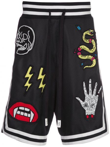 Czarne krótkie szorty z haftem do koszykówki Haculla