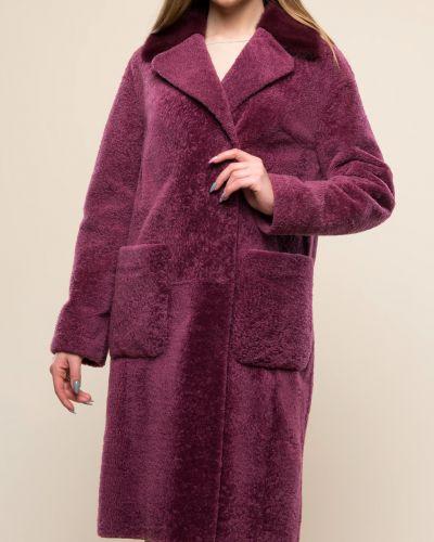 Прямое пальто с воротником из овчины Aliance Fur