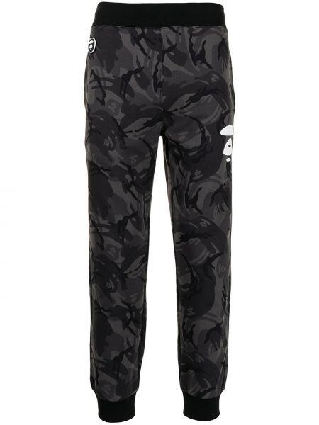 Хлопковые черные спортивные брюки с принтом Aape By A Bathing Ape