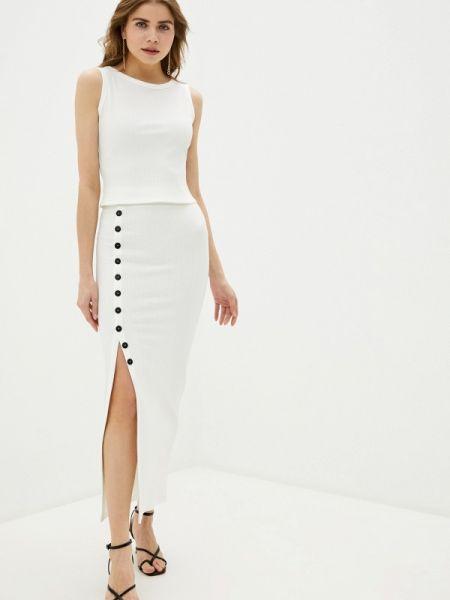 Белый костюмный вязаный юбочный костюм Trendyangel