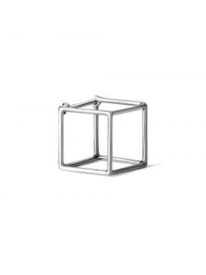 Белые серьги металлические квадратные Shihara