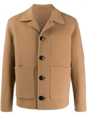 Długa kurtka wełniana z długimi rękawami Ami