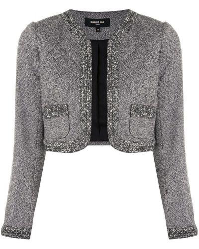 Шерстяной серый удлиненный пиджак с вырезом Paule Ka