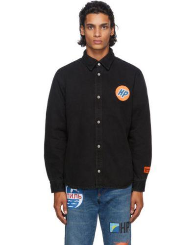 Czarny koszula dzinsowa z mankietami z łatami rozciągać Heron Preston