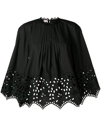 Блузка с длинным рукавом с вышивкой черная Giamba