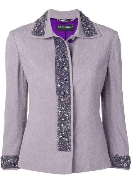 Фиолетовая куртка с бисером с подкладкой с воротником Dolce & Gabbana Pre-owned