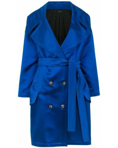 Синее пальто классическое с поясом à La Garçonne