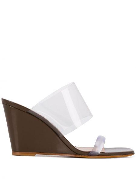Sandały skórzane na obcasie - brązowe Maryam Nassir Zadeh