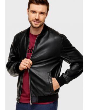 Кожаная куртка на резинке с манжетами Ostin
