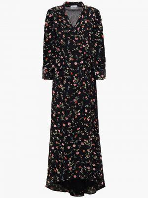 Платье миди с принтом - черное Ganni