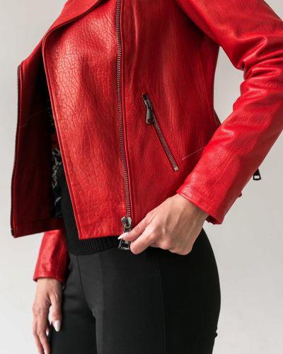 Кожаная куртка - красная без бренда