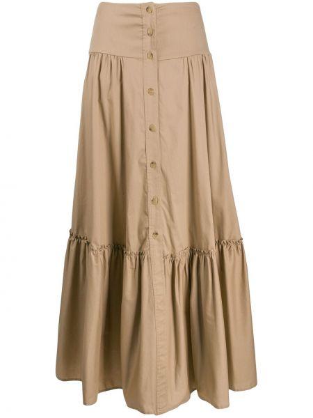 Brązowa spódnica maxi rozkloszowana z wysokim stanem So Allure