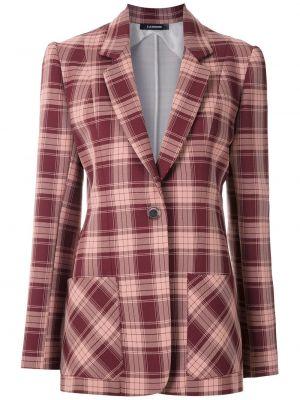 Розовый прямой классический пиджак в клетку À La Garçonne