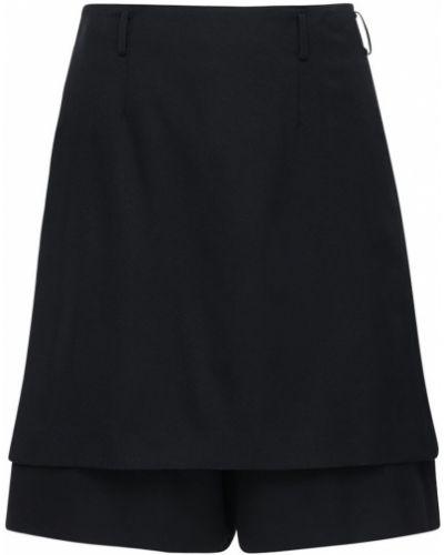 Czarny wełniany spódniczki-szorty z kieszeniami z klamrą Comme Des Garcons