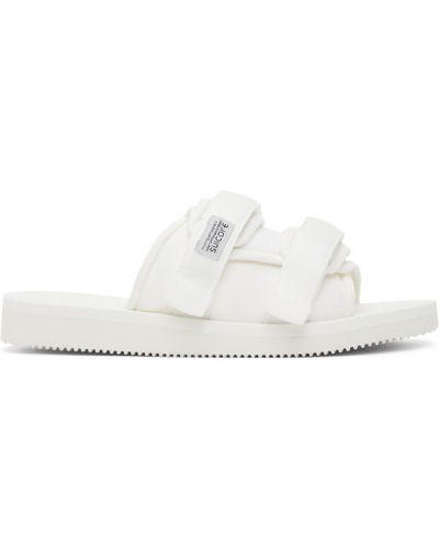 Biały sandały na paskach rzep okrągły nos Suicoke