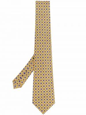 Krawat z printem - żółty Etro