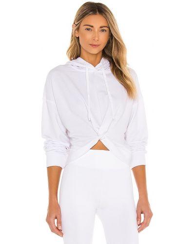 Biały ze sznurkiem do ściągania bluza z kapturem L'urv