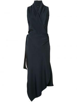 Синее шелковое платье с запахом Peter Cohen