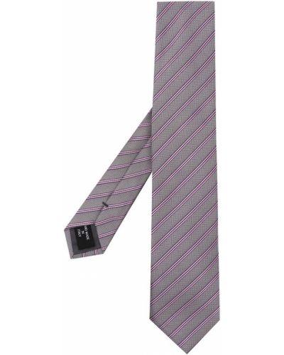 Fioletowy krawat w paski z jedwabiu Giorgio Armani