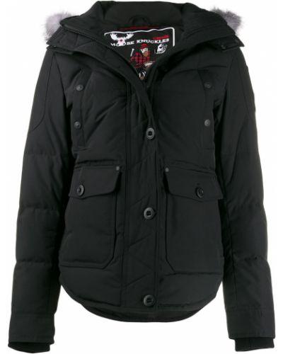 Черное пуховое длинное пальто с капюшоном Moose Knuckles