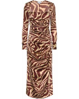 Платье миди шелковое стрейч Ganni