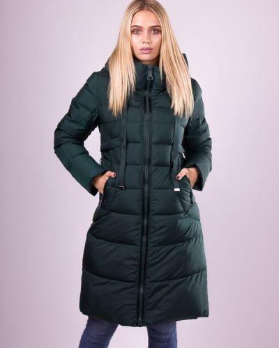 Пуховик-пальто - зеленый Clasna