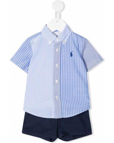 Синяя рубашка с короткими рукавами с воротником Ralph Lauren Kids