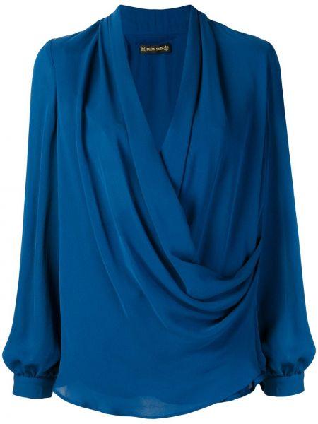 Niebieska bluzka z długimi rękawami kopertowa Plein Sud