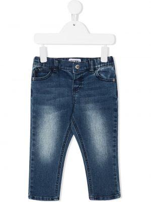 Синие облегающие джинсы-скинни на пуговицах Moschino Kids