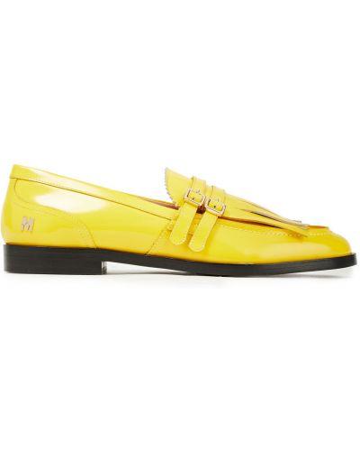 Żółte loafers skorzane z klamrą Msgm