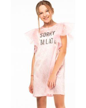 Прямое розовое платье с рукавами с сеткой с вырезом Orby