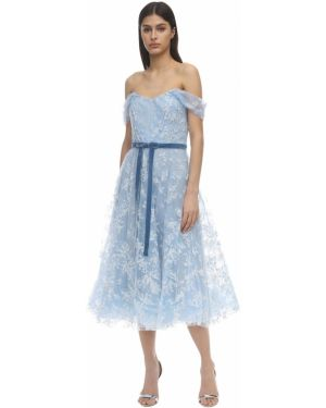 Платье из фатина через плечо Marchesa Notte