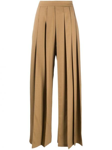 Spodnie z wysokim stanem wełniane rozkloszowane Kirin