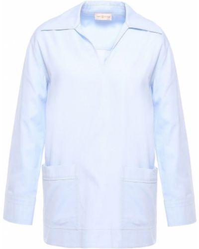 Niebieska tunika z haftem Tory Burch