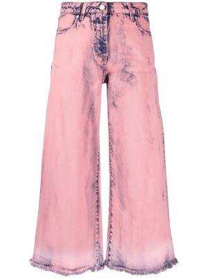 Широкие джинсы с завышенной талией - розовые Msgm